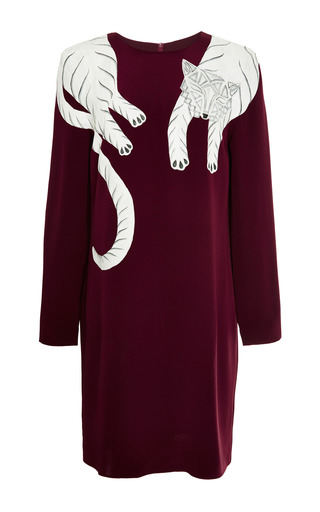 Medium holly fowler red holly fowler mo exclusive burgundy dress with white panther
