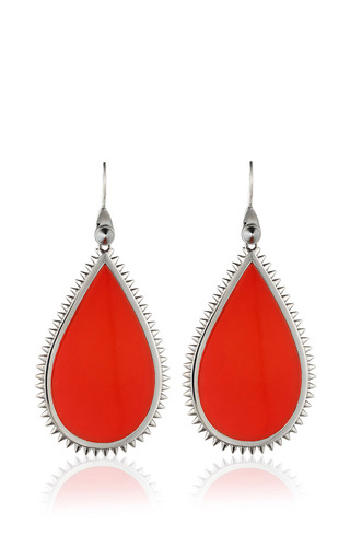 Medium eddie borgo red inlaid teardrop slice earrings in coral 2
