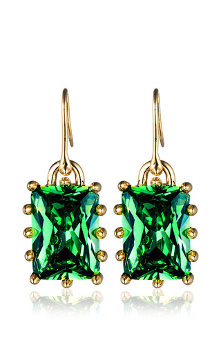 Medium eddie borgo green rectangle estate drop earrings in green 2