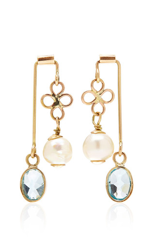 Medium sandra dini multi one of a kind 12k gold earrings with blue topaz and pearl 2