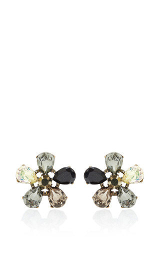 Fleur De Lis Gold Plated Asymmetrical Earrings by VICKISARGE Now Available on Moda Operandi