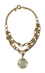 Gold Plated, Swarovski Crystal And Lucite Pendant Necklace by VICKISARGE Now Available on Moda Operandi