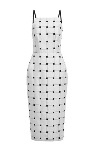 Medium josh goot white single jacquard weave waist tuck pencil dress 2