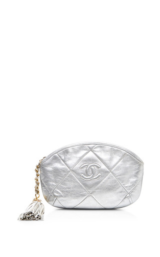 Medium what goes around comes around silver chanel silver quilted cc clutch