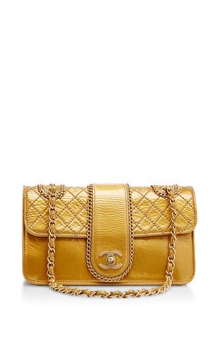 Medium what goes around comes around gold chanel gold metallic flap bag