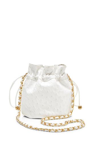 Medium what goes around comes around white chanel white ostrich bucket mini