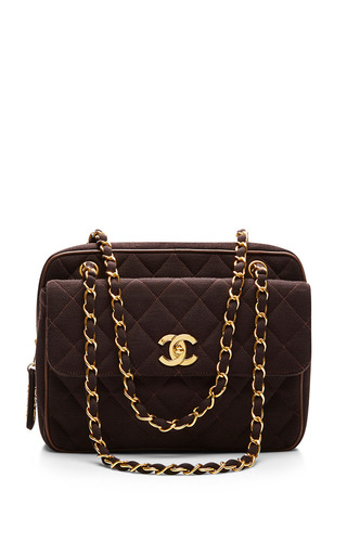 Medium what goes around comes around brown chanel brown jeresy flap zip bag
