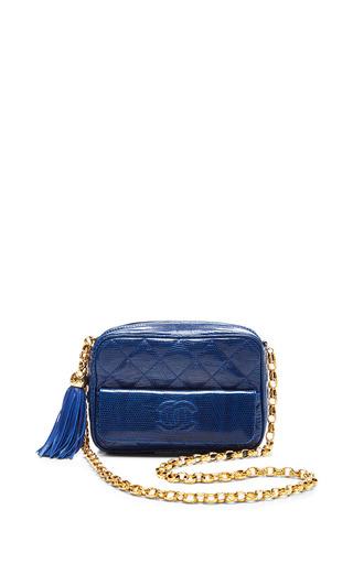 Medium what goes around comes around blue chanel blue lizard camera bag