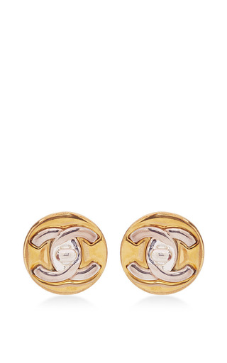 chanel two tone cc turnlock button earrings by what moda