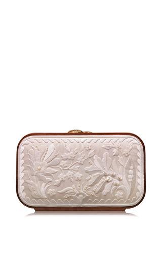 Medium katrin langer white floral brocade embroidered square bag in snow white