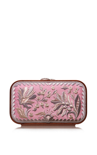 Medium katrin langer pink floral brocade embroidered square bag in marzipan rose