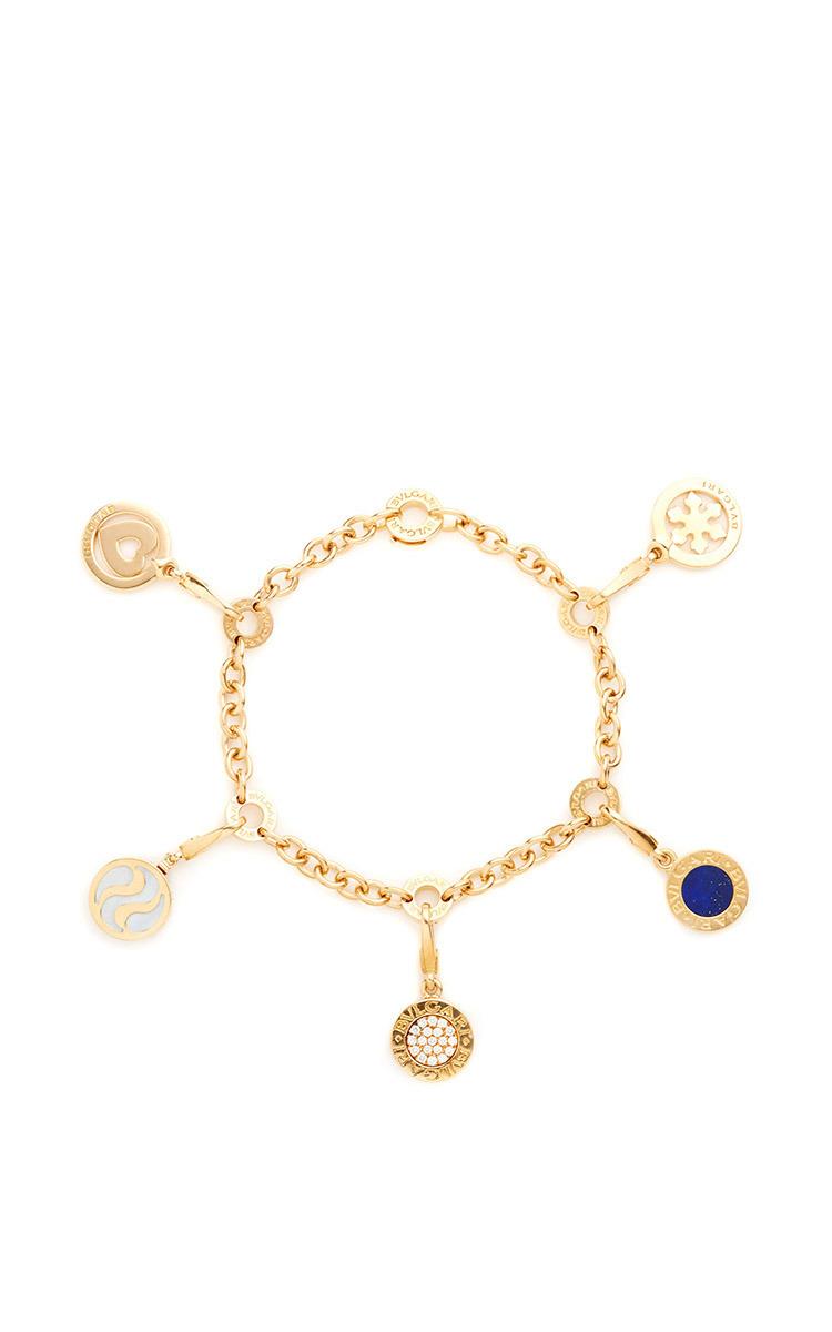 18k Yellow Gold Vintage Bulgari Charm Bracelet By Moda