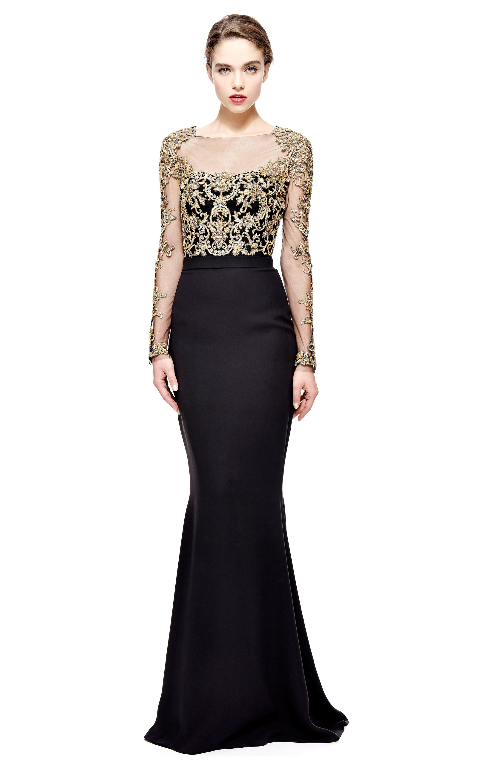 Reem Acra Long Sleeve Embroidered Illusion Gown by Reem Acra | Moda ...