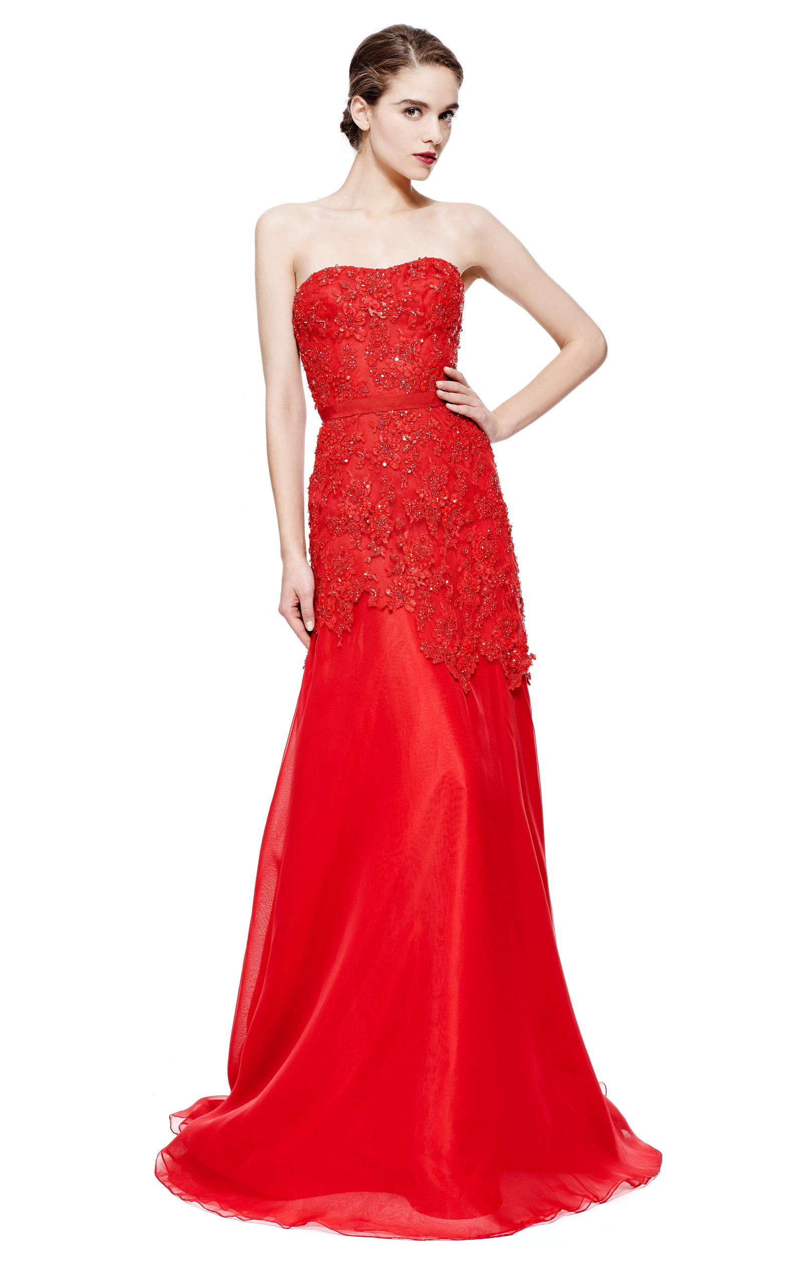 fe99912215809 Reem AcraReem Acra Strapless Beaded Re-Embroidered Lace Gown. CLOSE. Loading