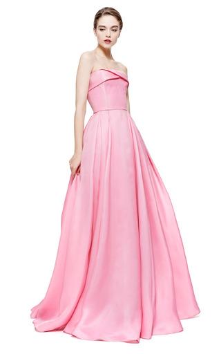 Medium reem acra pink reem acra strapless silk gazar pleated ball gown