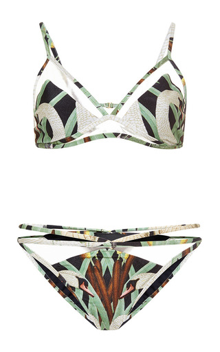 Medium adriana degreas unknown color nouveau swan print tulle detail triangle bikini