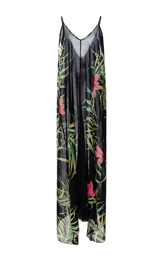Medium adriana degreas unknown color tropical floral print long dress