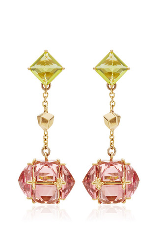 Medium paolo costagli pink very pc collection peridot and pink tourmaline earrings