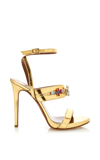 Medium tabitha simmons gold scarlett sandal with embellishments