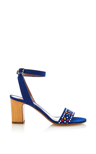 Medium tabitha simmons blue gia sandal in blue with beaded applique