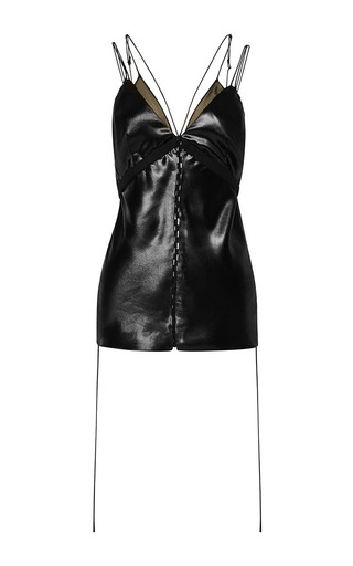 Medium alexander wang black satin cami top with bra and side seam detail