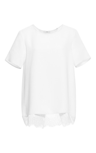 Medium tome white silk crepe t shirt with lace