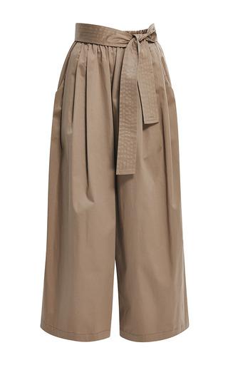 Medium tome brown beige cotton sateen karate pant
