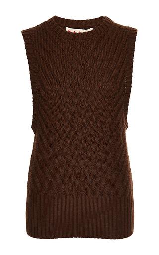 Medium marni red wool sleeveless crew neck sweater