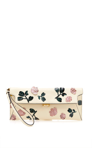 Medium marni yellow pochette clutch with embroidery