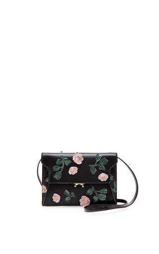 Medium marni yellow shoulder bag with embroidery