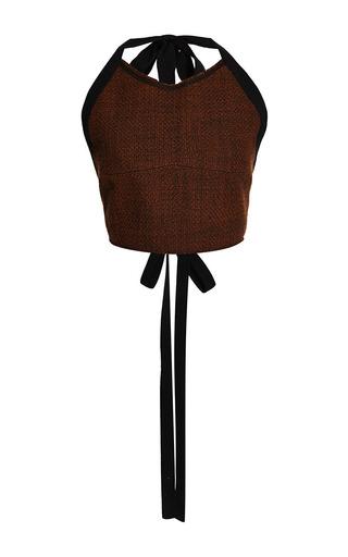 Medium marni red bonded tweed bustier top