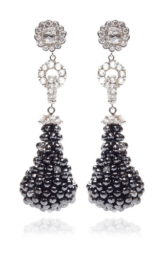 Medium gioia blue black white diamond bead drop earrings