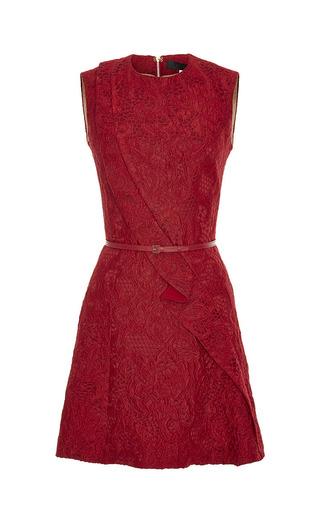 Medium elie saab red cardinal brocade short dress
