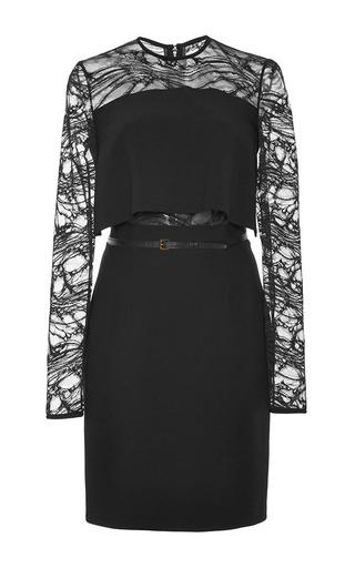 Medium elie saab black stretch cady and lace short dress