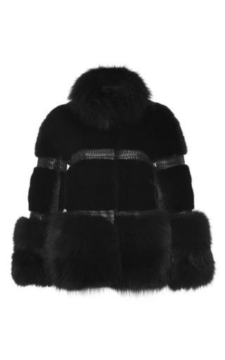 Medium elie saab black mink and fox fur jacket