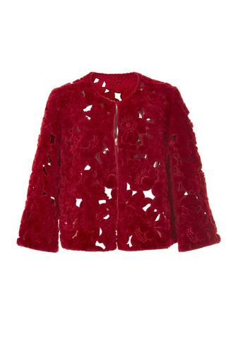 Medium elie saab red sheep fur jacket
