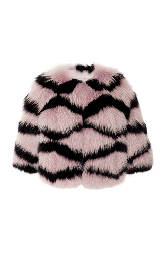 Medium elie saab multi moonstone and black fox fur bolero
