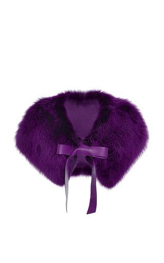 Medium elie saab purple amethyst fox fur capelet