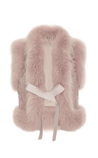 Medium elie saab pink fox and astrakhan fur vest