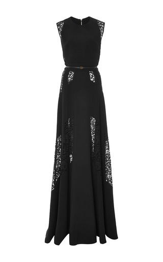 Medium elie saab black crepe cady and lace gown