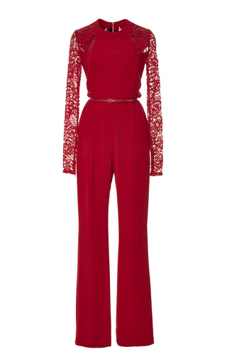 Medium elie saab red crepe cady and lace jumpsuit