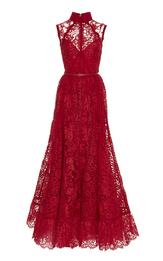 Medium elie saab red sleeveless lace and silk georgette gown