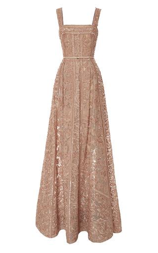 Medium elie saab pink embroidered moonstone tulle and silk georgette gown
