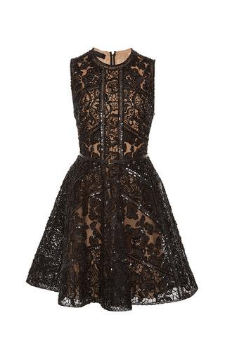 Medium elie saab black embroidered black tulle and silk georgette short dress