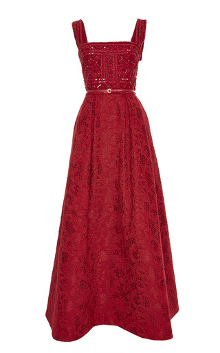 Medium elie saab red embroidered tulle and brocade gown