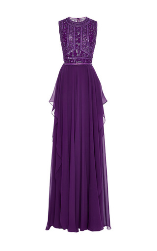 Medium elie saab purple embroidered amethyst silk georgette gown