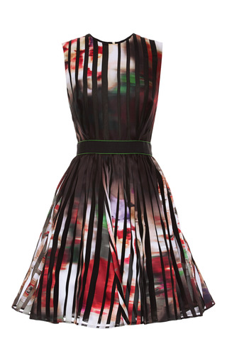 Medium elie saab print striped satin organza short dress