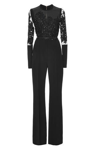 Medium elie saab black crepe cady and embroidery jumpsuit
