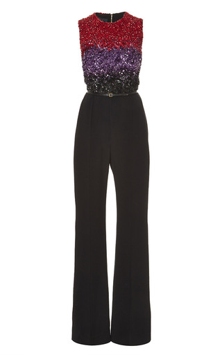 Medium elie saab multi crepe cady and embroidered tulle jumpsuit