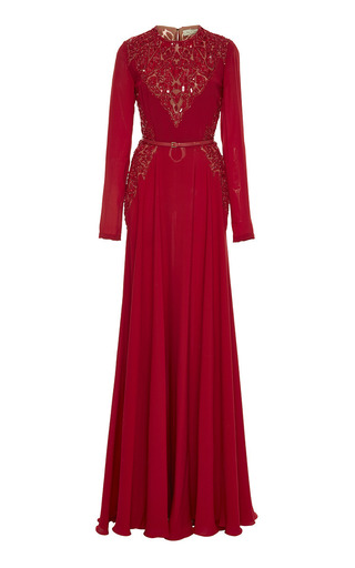 Medium elie saab red embroidered cardinal silk georgette gown